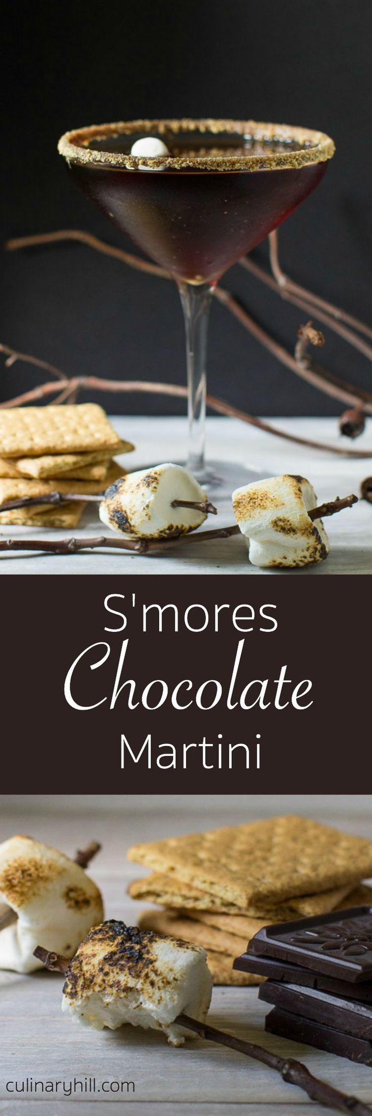 A rich, indulgent chocolate martini with all the trappings of traditional S'mores.