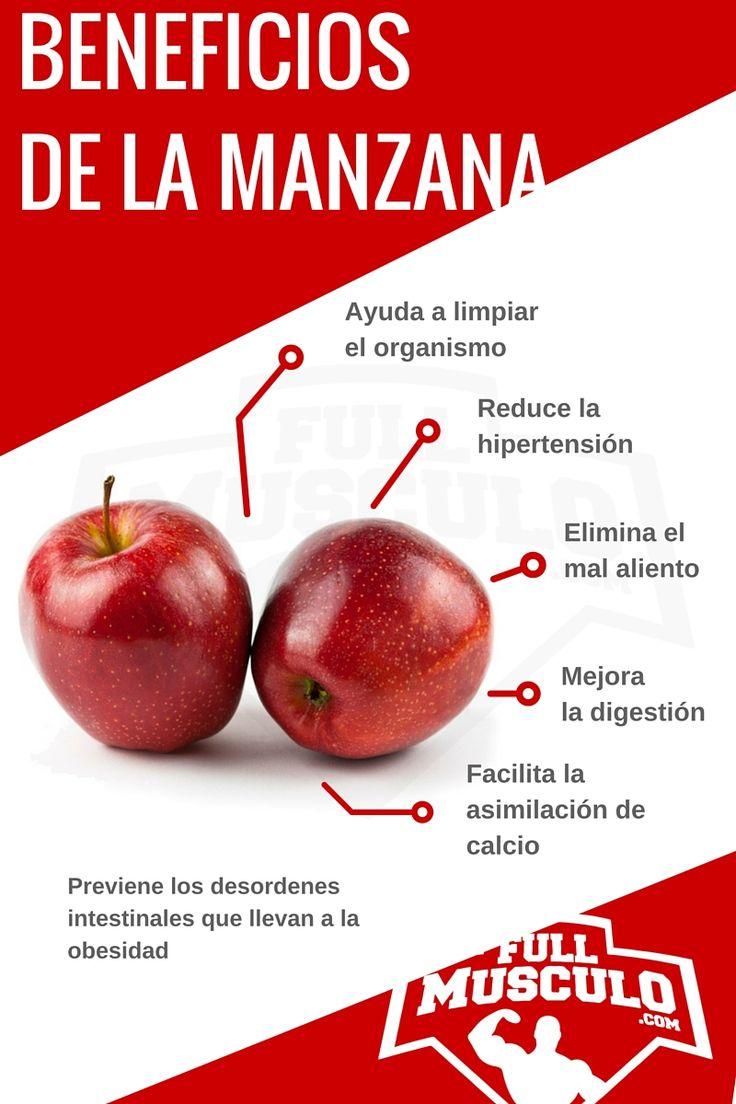 Infografia de los beneficios de la manzana. Ayuda a limpiar el organismo, reduce la hipertensión, elimina el mal aliento, mejora la digestión y facilita la asimilación de calcio. Previene los desordenes intestinales que llevan a la obesidad.