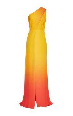 ELIE SAAB Orange Degrade Double Silk Georgette Dress
