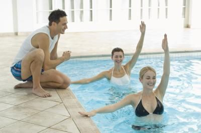 Swimming pool exercises for women.  Get a great workout with very little stress on your joints!  Follow PoolSupplyWorld on www.facebook.com/... for more pool ideas and resources!