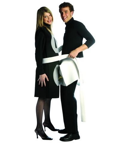 Watch the sparks fly with this costume for couples! This is the classic his and hers costume to get all the laughs!