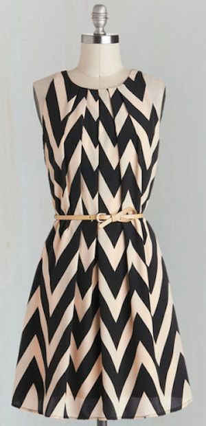 darling black and white chevron print dress