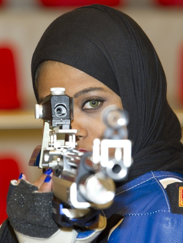 Kuwaiti Olympic shooter Mariam Erzouqi became the second Kuwaiti woman to compete in the Olympics, 2012