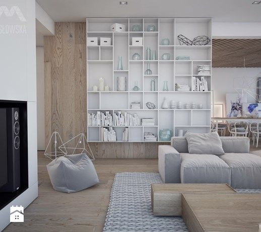 Projekt domu w Józefowie - Średni salon z jadalnią, styl minimalistyczny - zdjęcie od Ania Masłowska