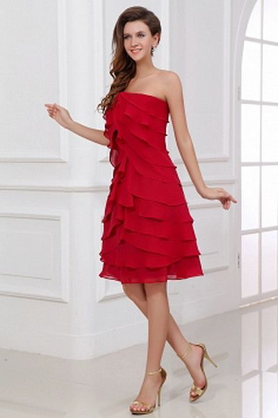 Modern Strapless A-Line Bridesmaids Dress wr2769 - http://www.weddingrobe.co.uk/modern-strapless-a-line-bridesmaids-dress-wr2769.html - NECKLINE: Strapless. FABRIC: Chiffon. SLEEVE: Sleeveless. COLOR: Red. SILHOUETTE: A-Line. - 82.59