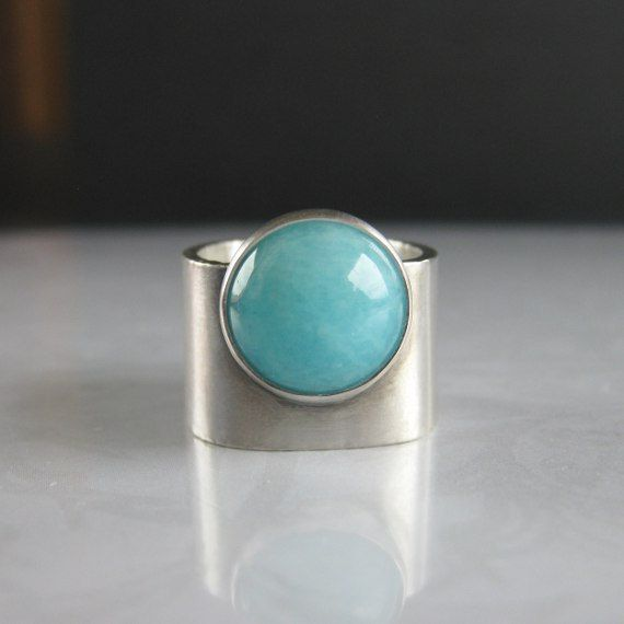Turquoise Blue Amazonite Wide Band Silver Ring