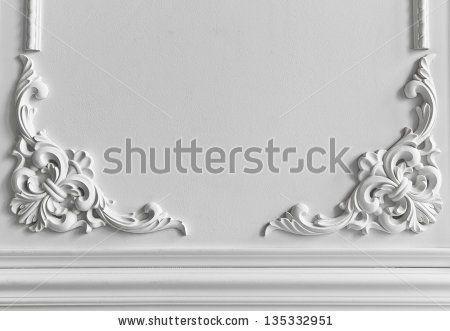 Beautiful Ornate White Decorative Plaster Moldings In Studio   Stock Photo