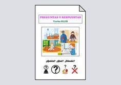 Material para aprender a responder a los pronombres interrogativos ¿Quién?, ¿Qué? y ¿Dónde? a partir de las láminas de verbo OLER.