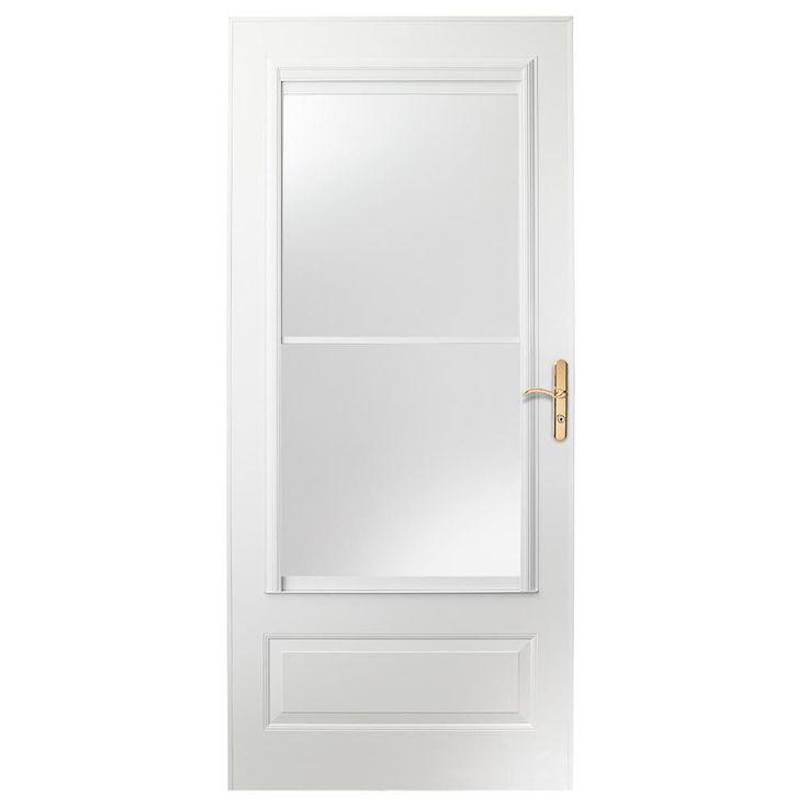 EMCO 34 in. x 80 in. 400 Series White Universal Self-Storing Aluminum Storm Door with Nickel Hardware