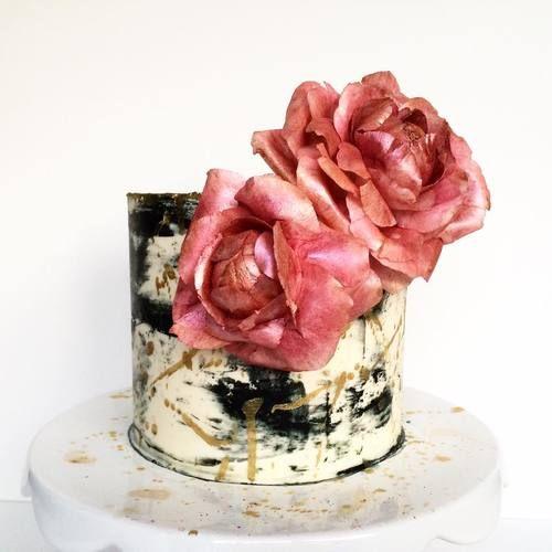 Birthday Cake. Buttercream cake. Black. White. Gold. Red. Wafer paper roses. Watercolor cake. Drip cake. Painted cake. Savannah, GA. Vintage Soul Cakes