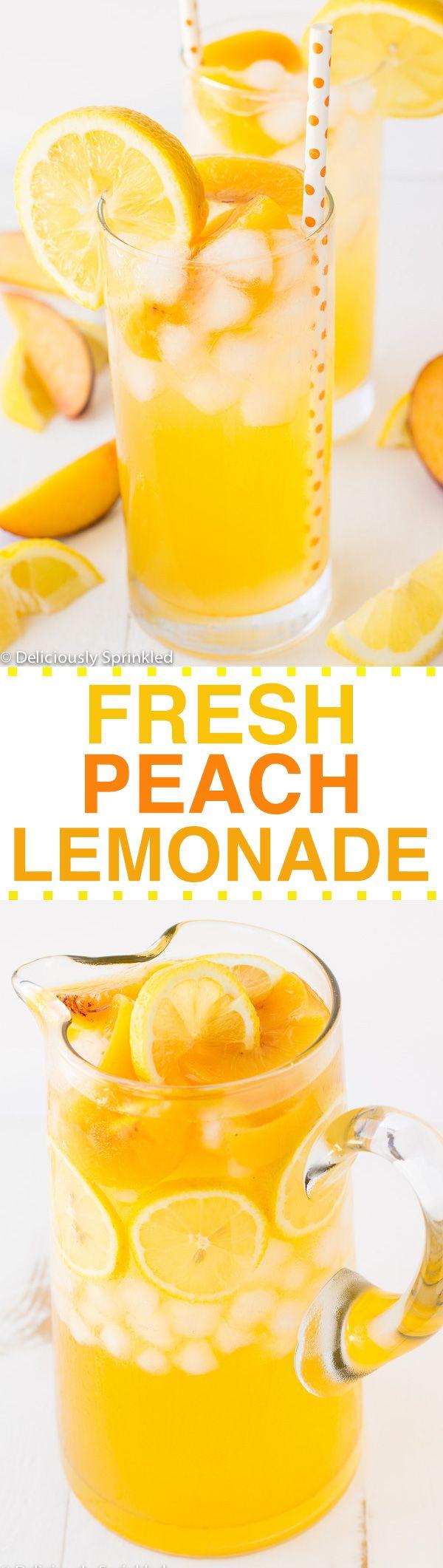 FRESH PEACH LEMONADE RECIPE ~ Deliciously Sprinkled