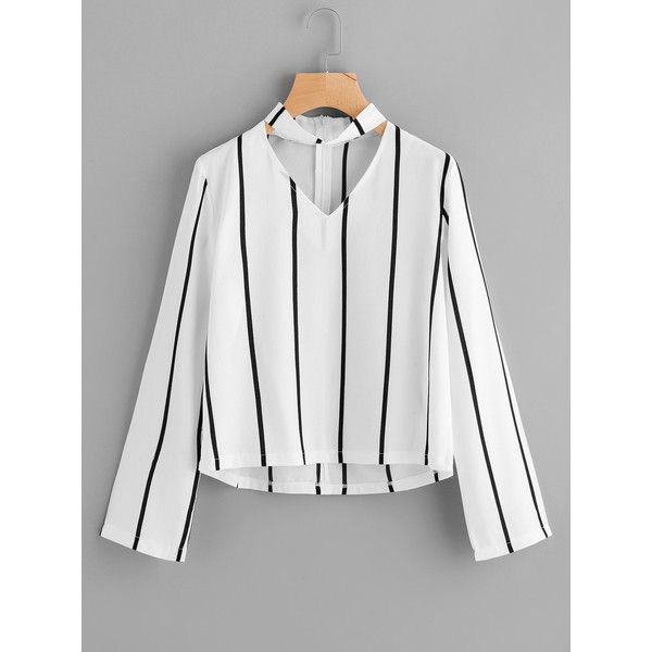 SheIn(sheinside) V Cut Striped Zip Back Blouse (920 INR) ❤ liked on Polyvore featuring tops, blouses, white, v neck blouse, white collared blouse, embellished top, white long sleeve top and white v neck blouse