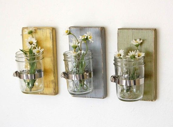 Shabby chic vases sconce mason jar wood vase wall by OldNewAgain,