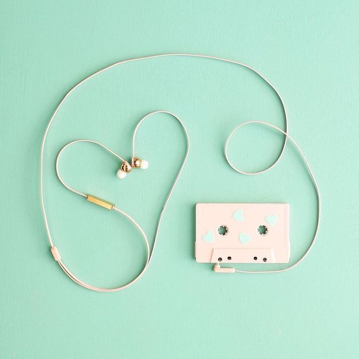Mint green | cassette, earphones, photography