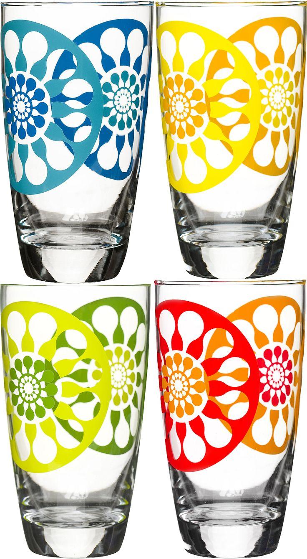 Perfect om je te verfrissen op warme zomerdagen. Meng je favoriete drankje met heel veel ijs, vers fruit en serveer ze in deze mooie glazen. It's summertime! Set van 4 glazen ontworpen door Lotta Odelius.