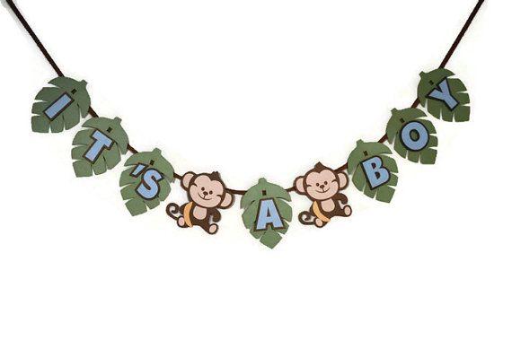 Monkey It's a Boy Baby Shower Banner Boy by DecorateYourBigDay