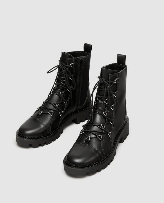 Image 5 of LEATHER BIKER ANKLE BOOTS