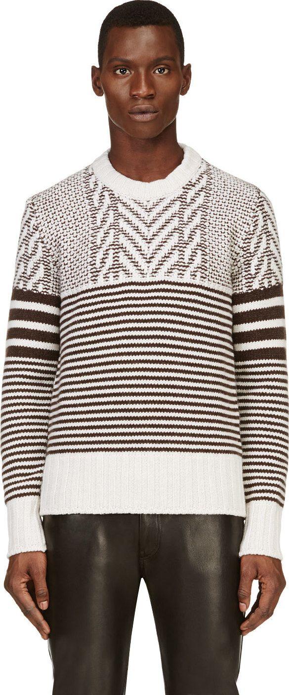 Belstaff: White Herringbone Striped Wool Sweater | SSENSE