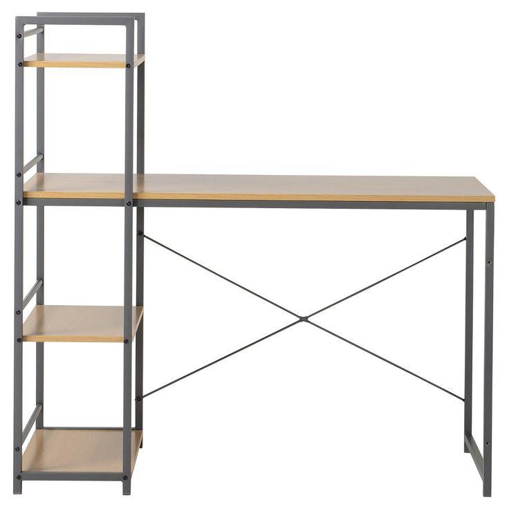 Desk with Built In 4 Shelf Bookcase Natural Wood - Homestar