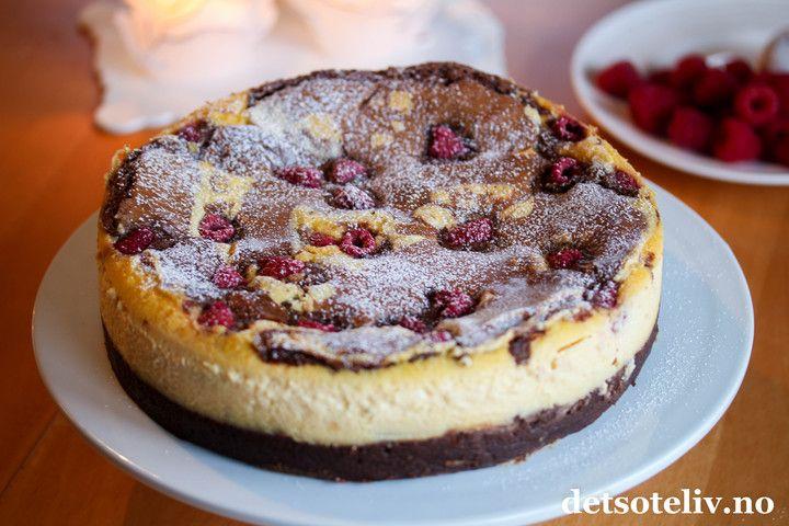 Chocolate Brownie & Rasperry Cheesecake | Det søte liv