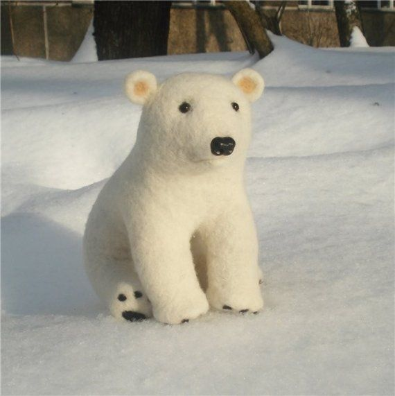White needle felted wool polar bear  Handmade work  by BinneBear