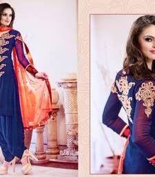 Buy Dark Blue Embroidered georgette semi stitched salwar with dupatta patiala-salwar online