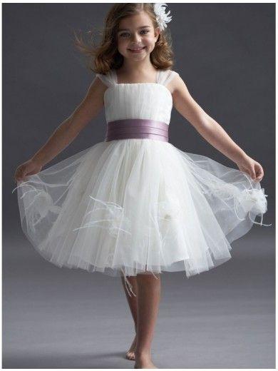 Princess Square-neck Knee-length Santin And Tulle Flower Girls Dresses