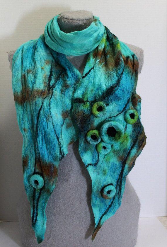 Turquoise Nuno Felted Scarf OOAK GREAT GIFT von mgotovac auf Etsy