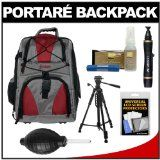 Portare Multi-Use Laptop/iPad/Digital SLR Camera Backpack Case (Gray/Maroon) with 58″ Photo/Video Tripod + Cleaning Kit for Nikon D3100, D32...