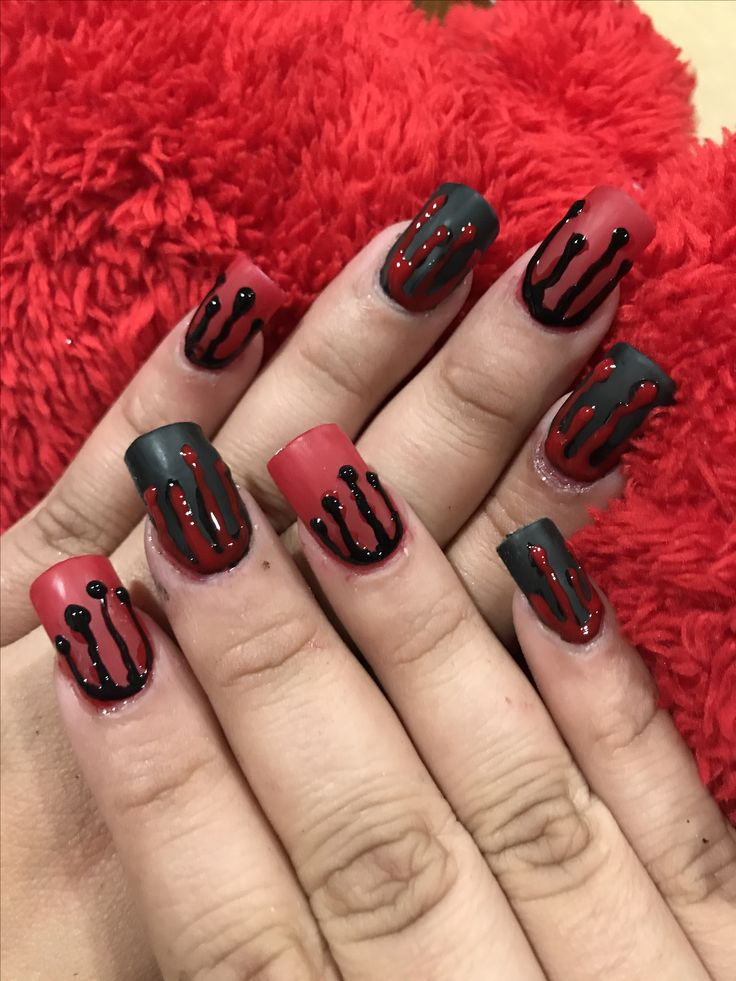 My version of blood splatter nails using young nails clear acrylic encapsulating the red/black mia secret powders, ibd gel polishes and gelish led lamp !!!!