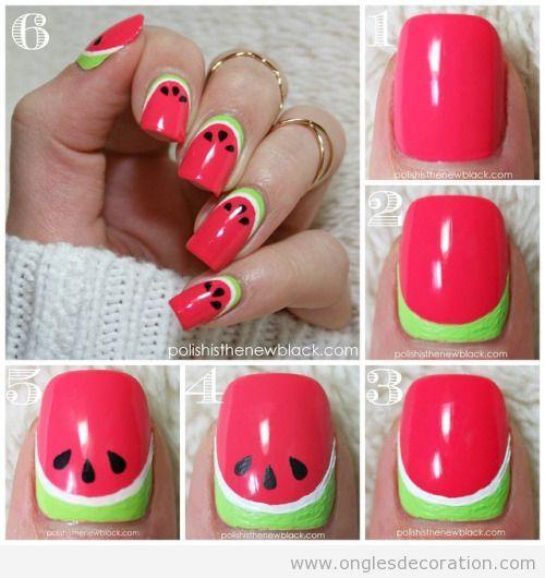 image nail art été | Voici une façon toute simple de dessiner une pastèque sur les ongles ... https://www.facebook.com/shorthaircutstyles/posts/1761677027456070