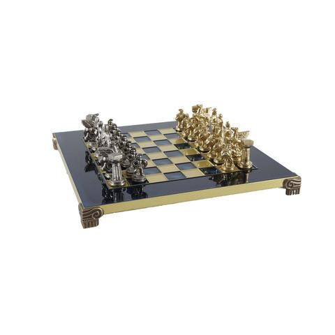 Handcrafted Metallic Chess - Chess Set - Spartan Warrior (Small) - Gold/Silver