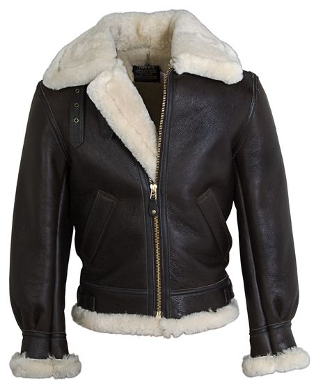 Schott Classic B-3 Sheepskin Leather Bomber Jacket - not sure what size - color: brown