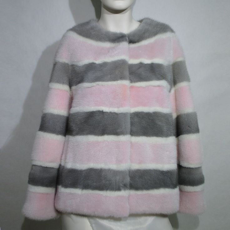 Edgy pink, grey and white stripes mink vest from our current collection.