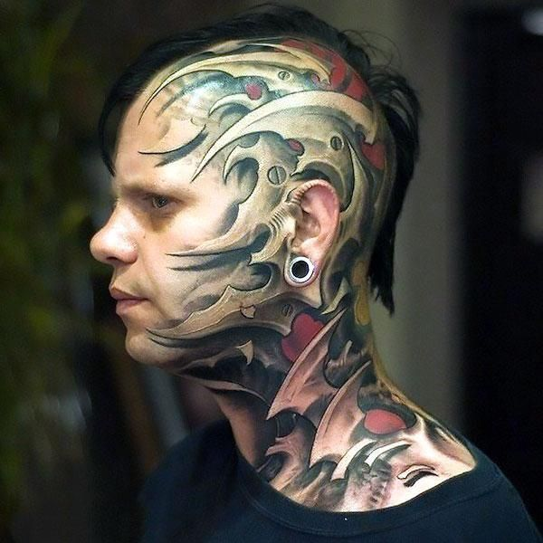 Cool Head Tattoo Idea Weird Tattoos Face Tattoos Head Tattoos