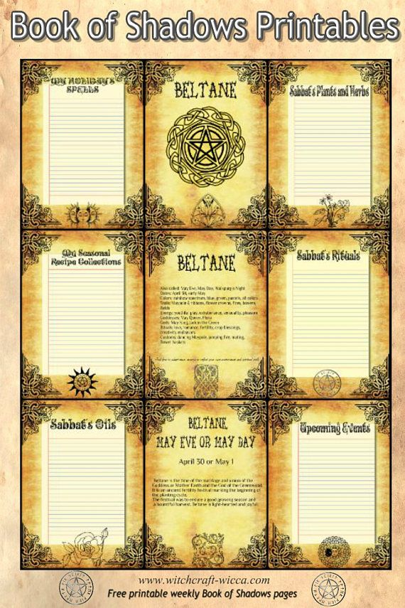 Book of Shadows printables 8 Pages for Beltane, charmed book of shadows sheets, golden color with Wiccan Weel of the Year- Printable Color Pages