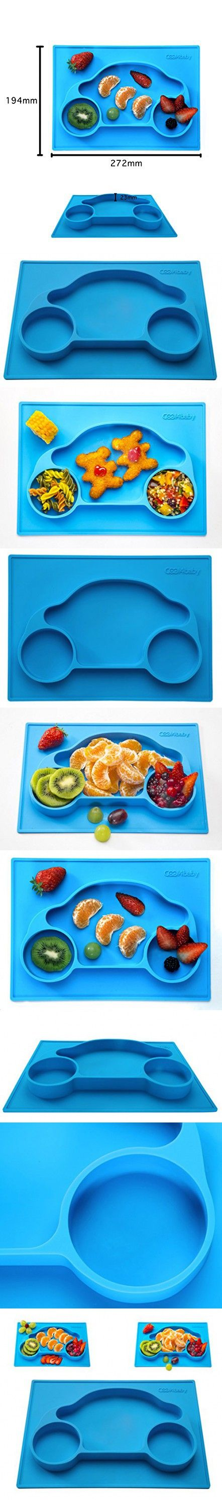 Mini Silicone Placemat for Kids On To Go Plate Car Baby Feeding Mat Toddlers Children Suction Plate (Blue) Fits Most High Chair for Table – - FREE BONUS
