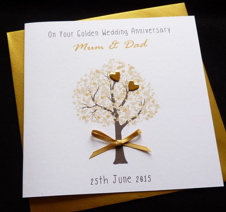 wedding anniversary card pictures%0A  Personalised handmade golden     th  wedding  anniversary    wedding card   View