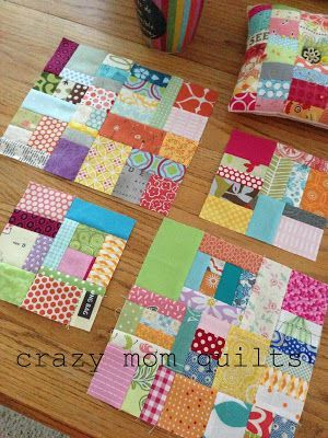 crazy mom quilts: scraps. I think I like these scrap blocks best with white in between.