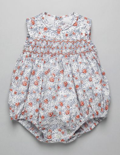 ORANGE FLOWER SMOCK ROMPER | Boy-and-Girl | Baby Clothes | Online Shop | Neck