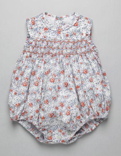 ORANGE FLOWER SMOCK ROMPER   Boy-and-Girl   Baby Clothes   Online Shop   Neck