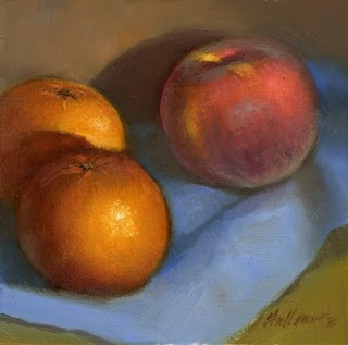 "Tangerines with Peach 8""x8"" Oil by Hall Groat II"