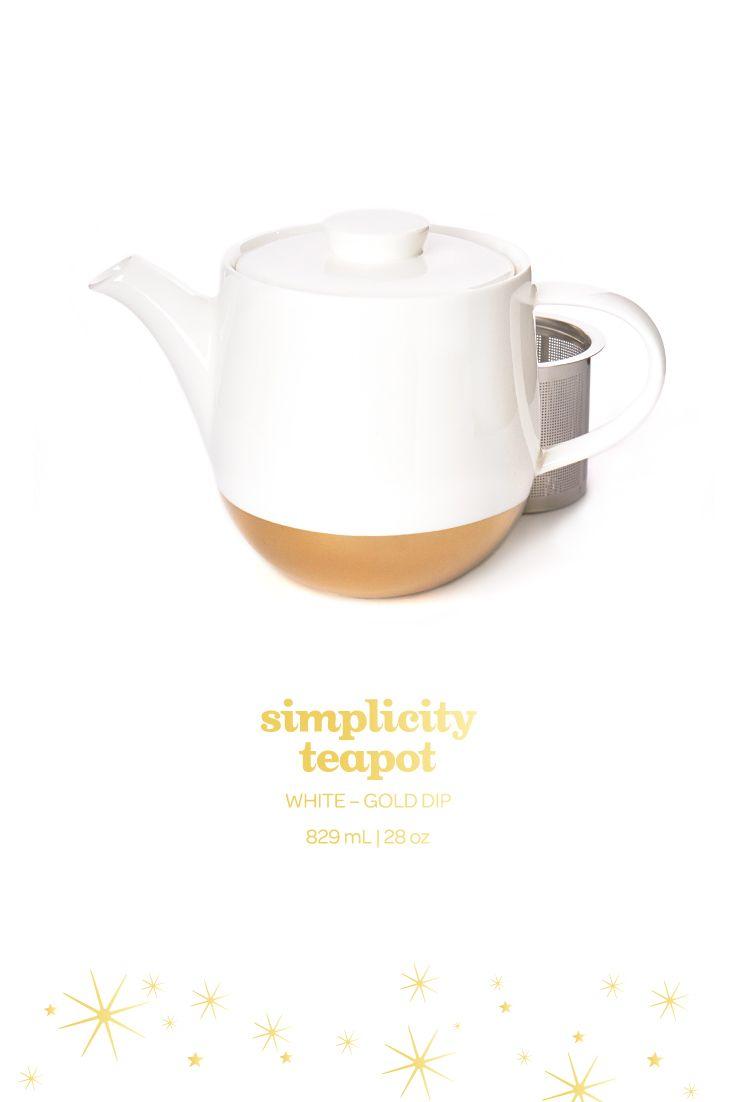 Simplicity Teapot - This stunning gold-dipped porcelain teapot is the perfect way to class up your tea time. #DAVIDsTEA