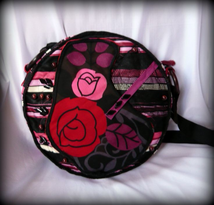 Handmade by Judy Majoros - Pink-red rose round crossbody bag- shoulder bag. Recycled bag