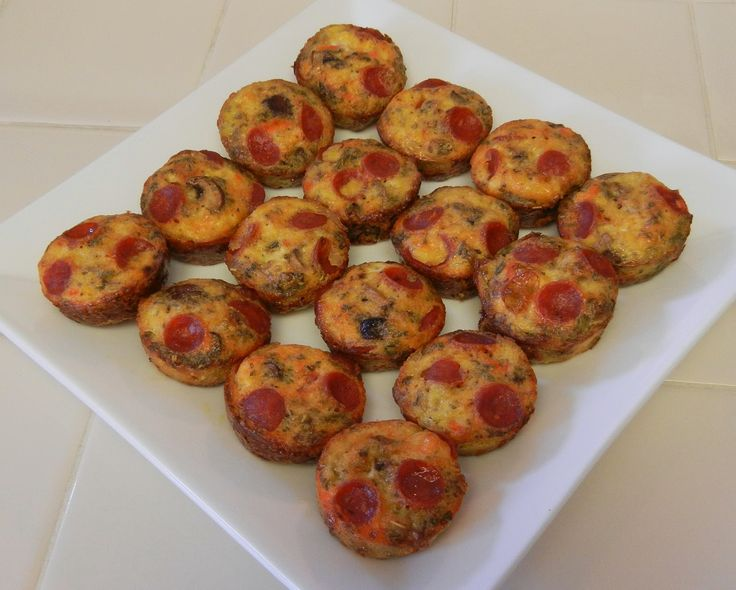 Shelly's Pepperoni and Mushroom Pizza Bites (aka Crustless Mini Quiches) #Pizza #Appetizers #Healthy #LowCarb