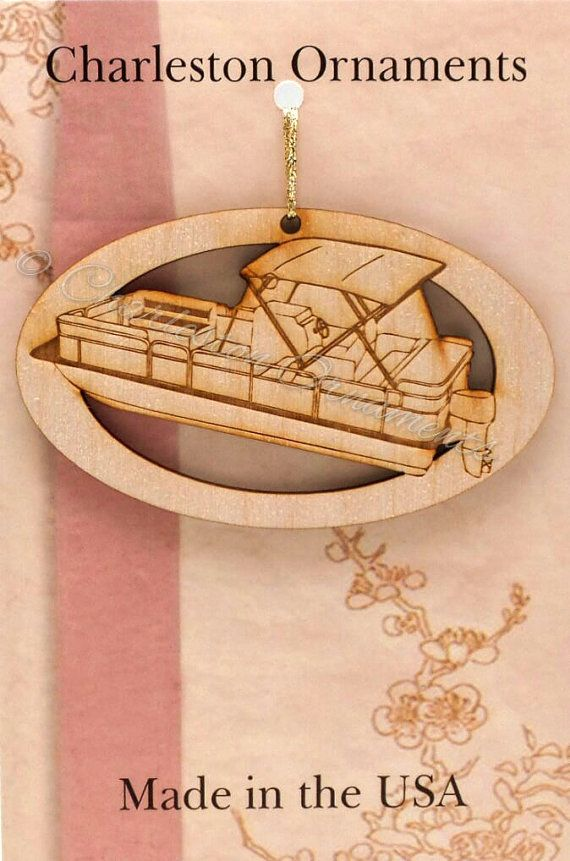 Pontoon Boat Ornament  - Pontoon Boat Gift - Pontoon Boat Ornaments - Pontoon Boat Decor - Lake Ornament- Personalized Free