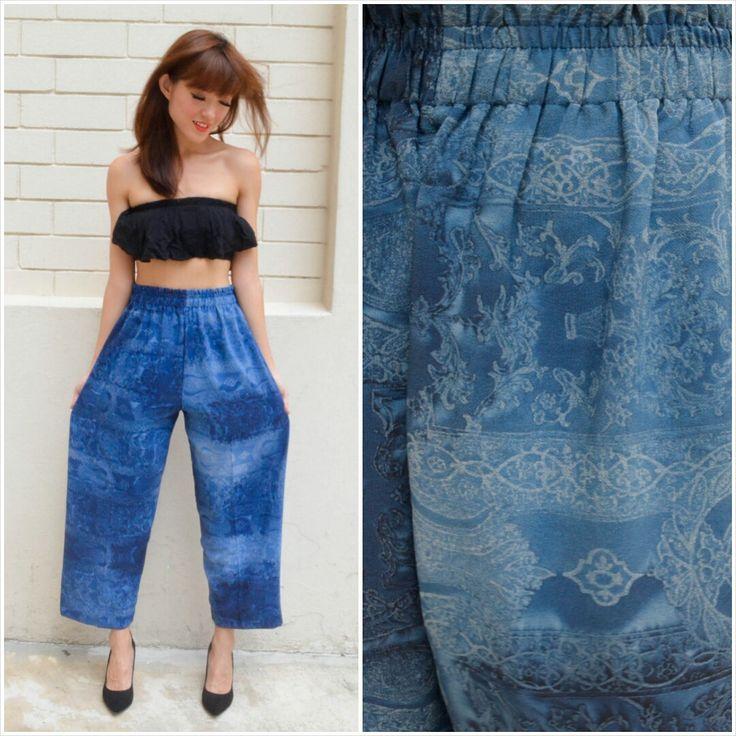 1980 Vintage Pants/ Imperial Carving Pants/ Small Pants/ Medium Pants/ Japanese Vintage/ Blue Pants/ Gradient Pants/ Summer Pants/ 80's by HEIRESSxVintage on Etsy