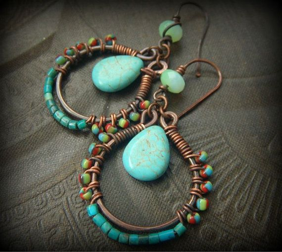 Turquoise Wire Wrapped Copper Glass Beaded Hoop by YuccaBloom, $38.00