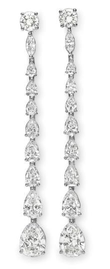 A PAIR OF DIAMOND EAR PENDANTS. Cartier, circa 1991.  Formerly owned by Elizabeth Taylor. Christie's.