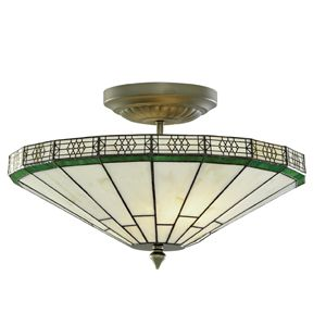 4417-17 New York Antique Brass 2 Light Semi-Flush Complete with Weathered Tiffany Glass is pure 1920s chic.  The ornate upward facing shade is handmade with stained Tiffany style champagne glass, and the antique brass finish gives the fitting and shade a beautiful old fashioned look, ideal for lower ceilings.  Earthed 2 x 60w E14 Golf Ball Lamps not included Height 25cm Diameter 41cm  Brand: Searchlight Reference:4417-17